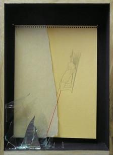 senza titolo . disegno su carta, spilli e filo . 38x27x5 cm . 2010 collezione privata