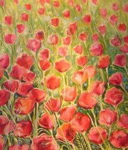 painting  Field of anemone flowers