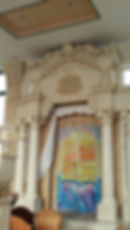 Artistic glass in a holy ark in a synagogue