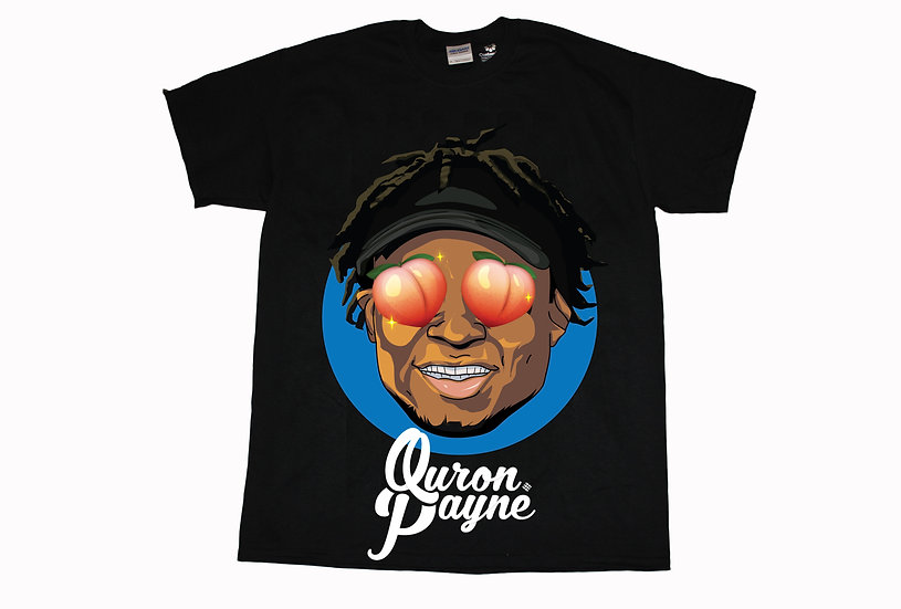 Quron Peach Eyes & Name Shirt (Black)