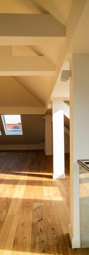 Living room on the rooftop floor, empty