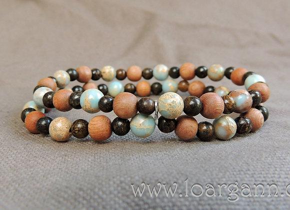 Bracelet double Bronzite Jaspe Sediment et bois de rose
