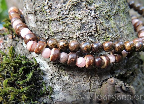 Bracelet double Bronzite, Rhodochrosite & Bois Fossilisé 19cm