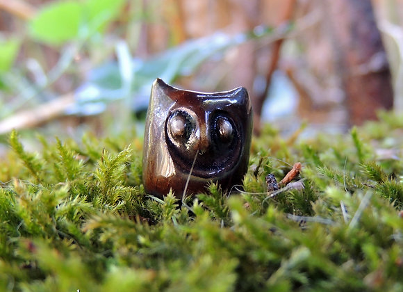 Perle céramique hibou (trou 3/4mm) 16x14mm (n°63)