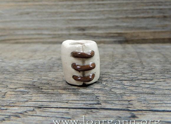 Perle #55 (trou 8mm) Dreadlocks ou tresses, terre cuite