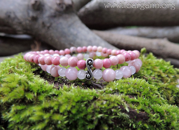 Bracelet double Morganite, Quartz rose et Rhodonite