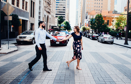 couple crosswalk engagement