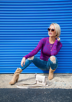 blue wall fashion pose