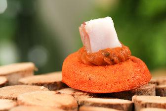 Moelleux aux poivrons, caviar d'aubergine et Feta