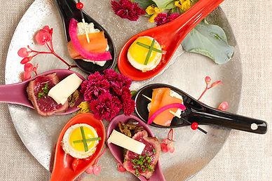 Tataki de boeuf, comté et cavier d'aubergine - oeuf de caille façon Fantaisy
