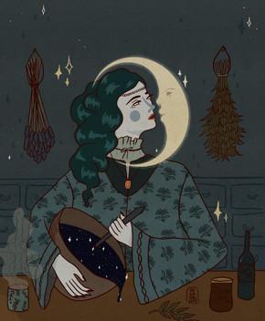 How She Stole the Moon - Drawtober 2020