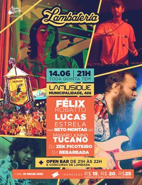 Lambateria#104 recebe o cordão de pássaro Tucano e show de Lucas Estrelas com Beto Montag