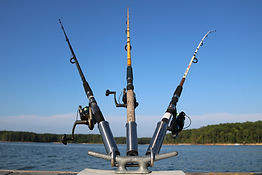 Boat cleat fishing rod holders.