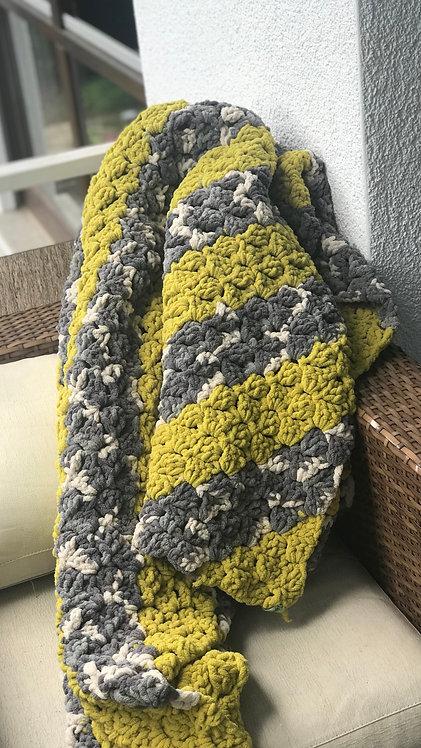 Hand Crocheted Plush Diagonal Afgan