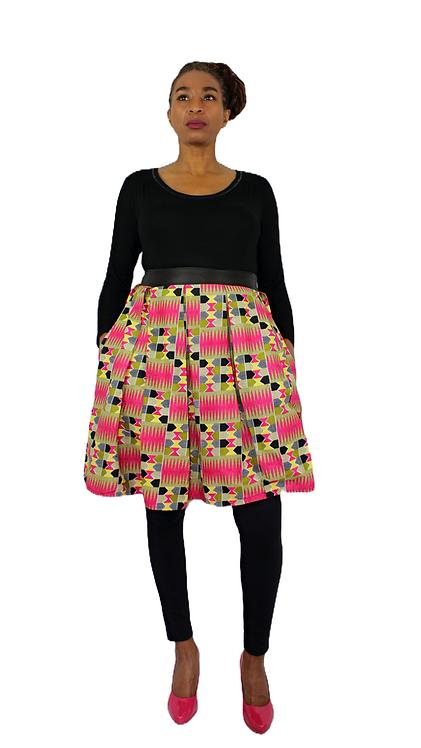 Kente & Leather Box Pleated Mini Skirt