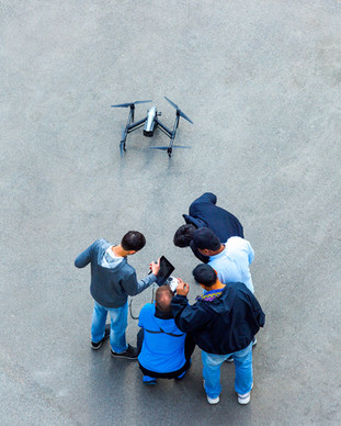 Adult Students learning how to use DJI  Inspire 1