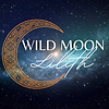 Wild Moon Lilith logo - space background with a moon and the name of the business in the center.