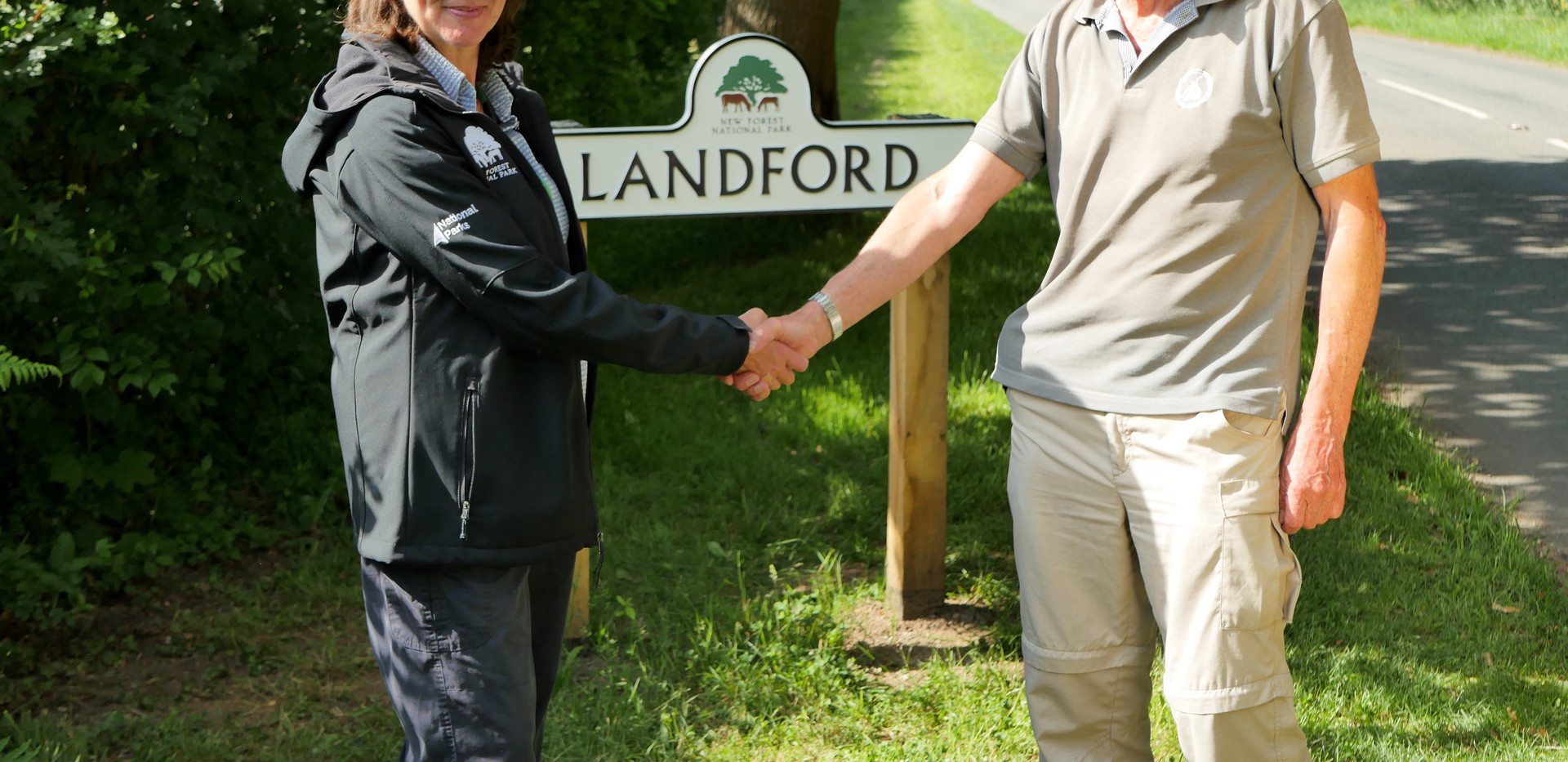 Sarah Kelly from New Forest National Park - congratulates Keith Cameron on a job well done