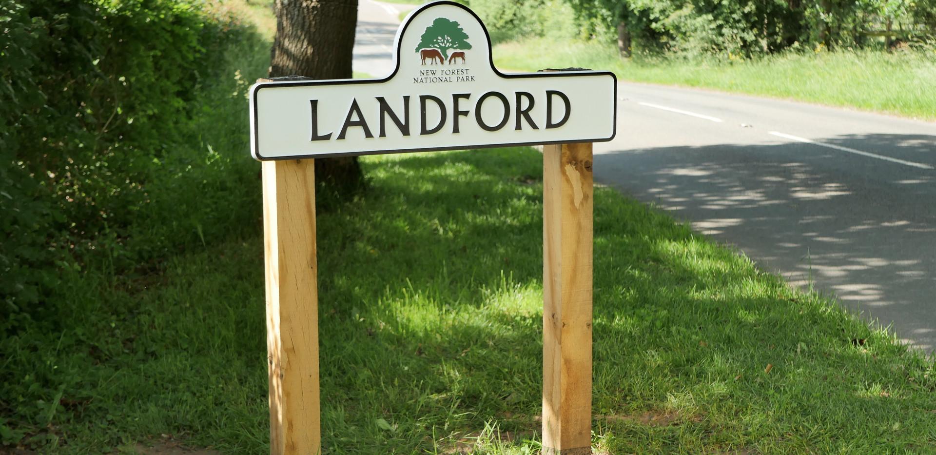 The new Landford Village sign
