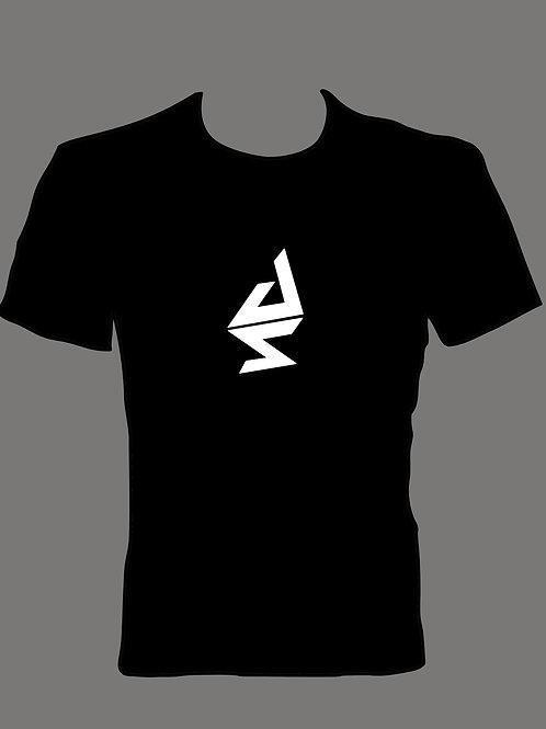 Men's White Logo On Black T Shirt