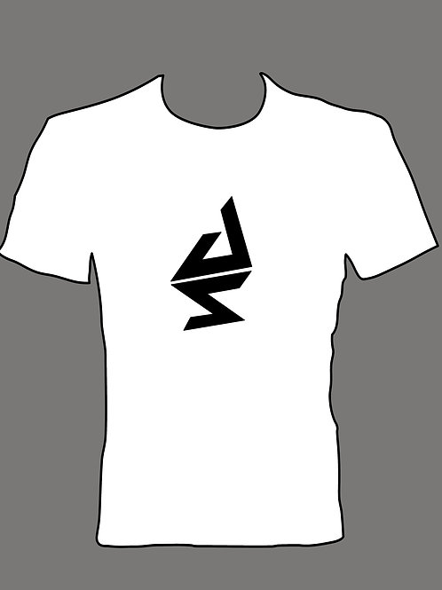 Women's White T Shirt with Black Logo