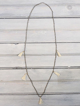 Silver beaded Necklace w/ White Tassels