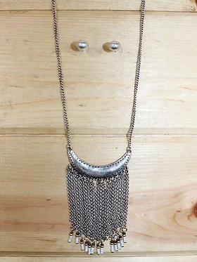 Crescent Moon Necklace w/ White Beaded Tassels