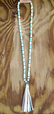 Mint Beaded Leather & Crystals Tassel Necklace