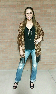 Leopard Print Fringed Kimono