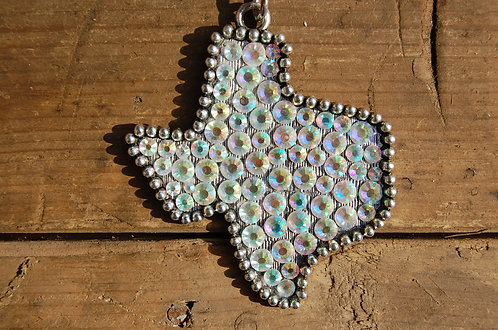 Beaded State of Texas Necklace with Crystals