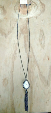 Natural Pave Stone Tassel Necklace