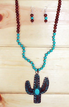 Rustic Cactus Pendant Turquoise & Red Beaded Necklace / Earring Set