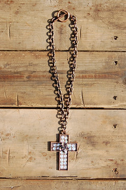 Rustic Cross with Crystals Necklace