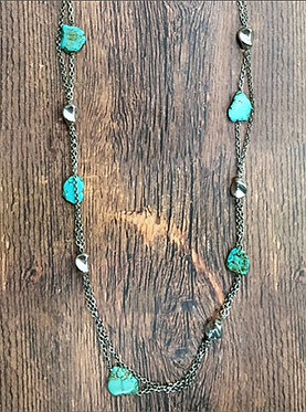 Turquoise Stone with Silver Accents Necklace Set