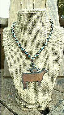 Goin' Showin Rustic Heifer Necklace