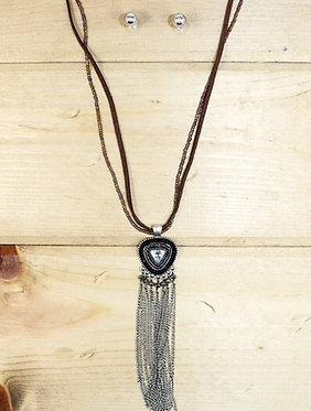 Crystal Pendant Tassel Necklace