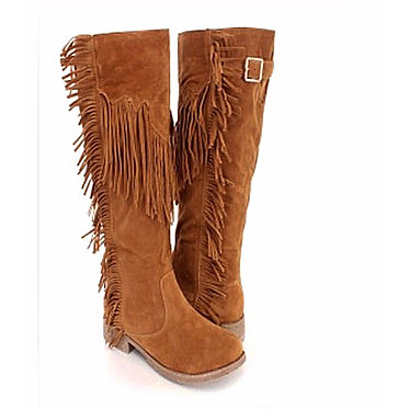 Vegan Fringed Boots With Buckle Top