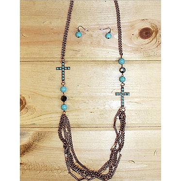 Bronze Cross Pendant Necklace Earring Set