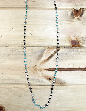 Turquoise & Black Beaded Layering Necklace w/ Silver Accents
