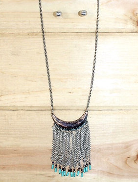 Crescent Moon Necklace w/ Turquoise Beaded Tassels