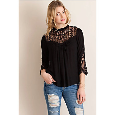 Lace Neck & Sleeve Top