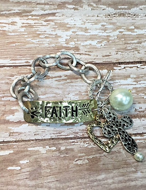 Faith Charms Pearl Toggle Bracelet