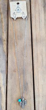 Cactus Charm Necklace/Earring Set