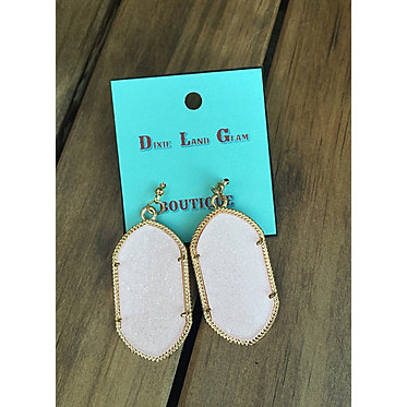 Light Pink Framed Sparkle Statement Earrings