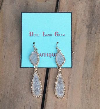 Teardrop Clear Druzy Earrings