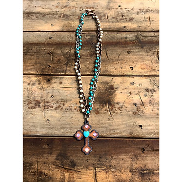 Beaded Peal and Metal Cross Necklace