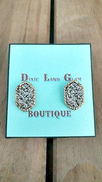 Hematite Faceted Druzy Quartz Stud Earrings