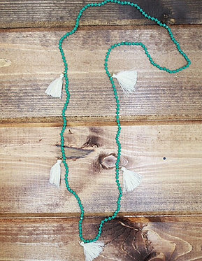 Mint Beaded Necklace w/ White Tassels