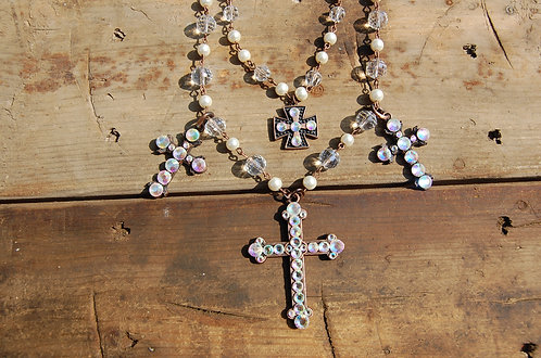 Beaded Cross and Crystal Necklace