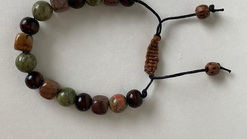 Sunset Mookaite/Unakite/Wood Beads